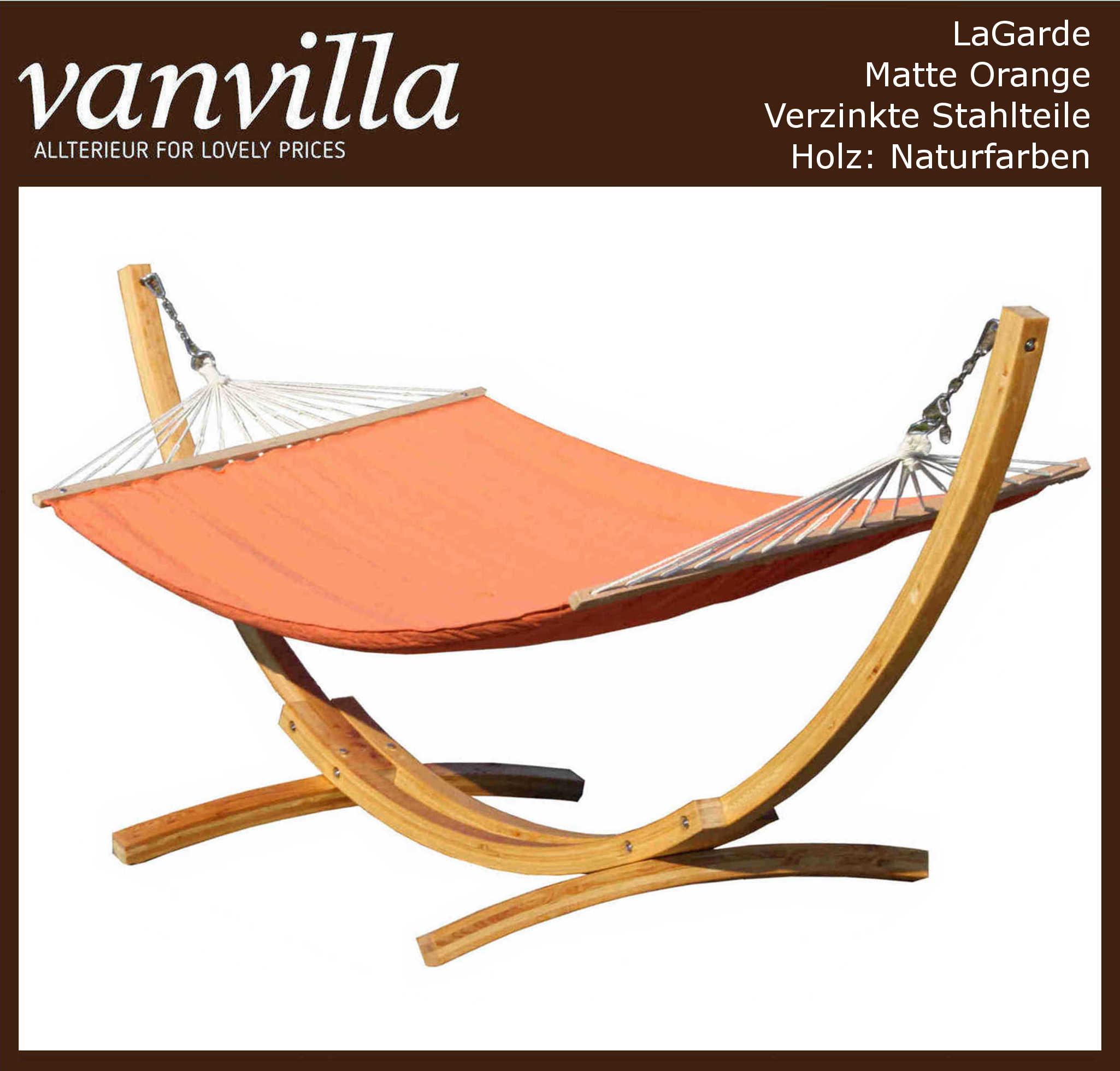 Hängemattengestell LaGarde / Matte Orange / Holzfarbe Natur / 1 Karton